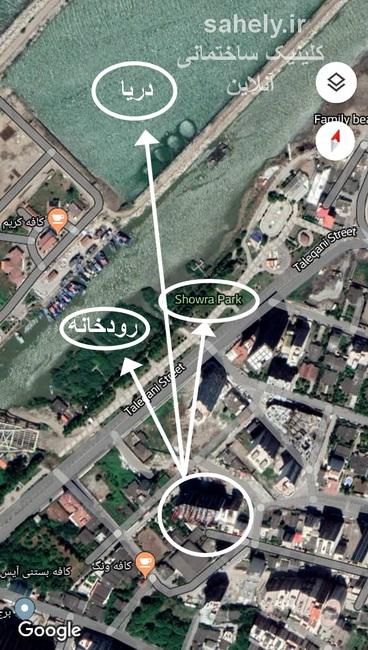 برج آرامش بابلسر نقشه هوایی محل دقیق پروژه