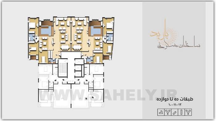مجتمع مسکونی باربد بابلسر پلان 3 طبقه اخر مسکونی
