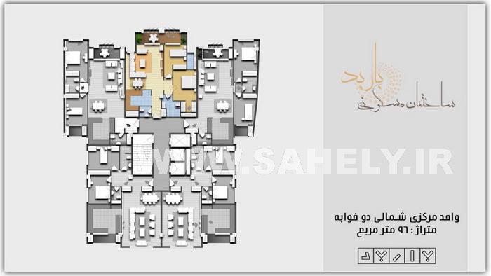 مجتمع مسکونی باربد بابلسر پلان واحد شمالی 96 متری 2خواب